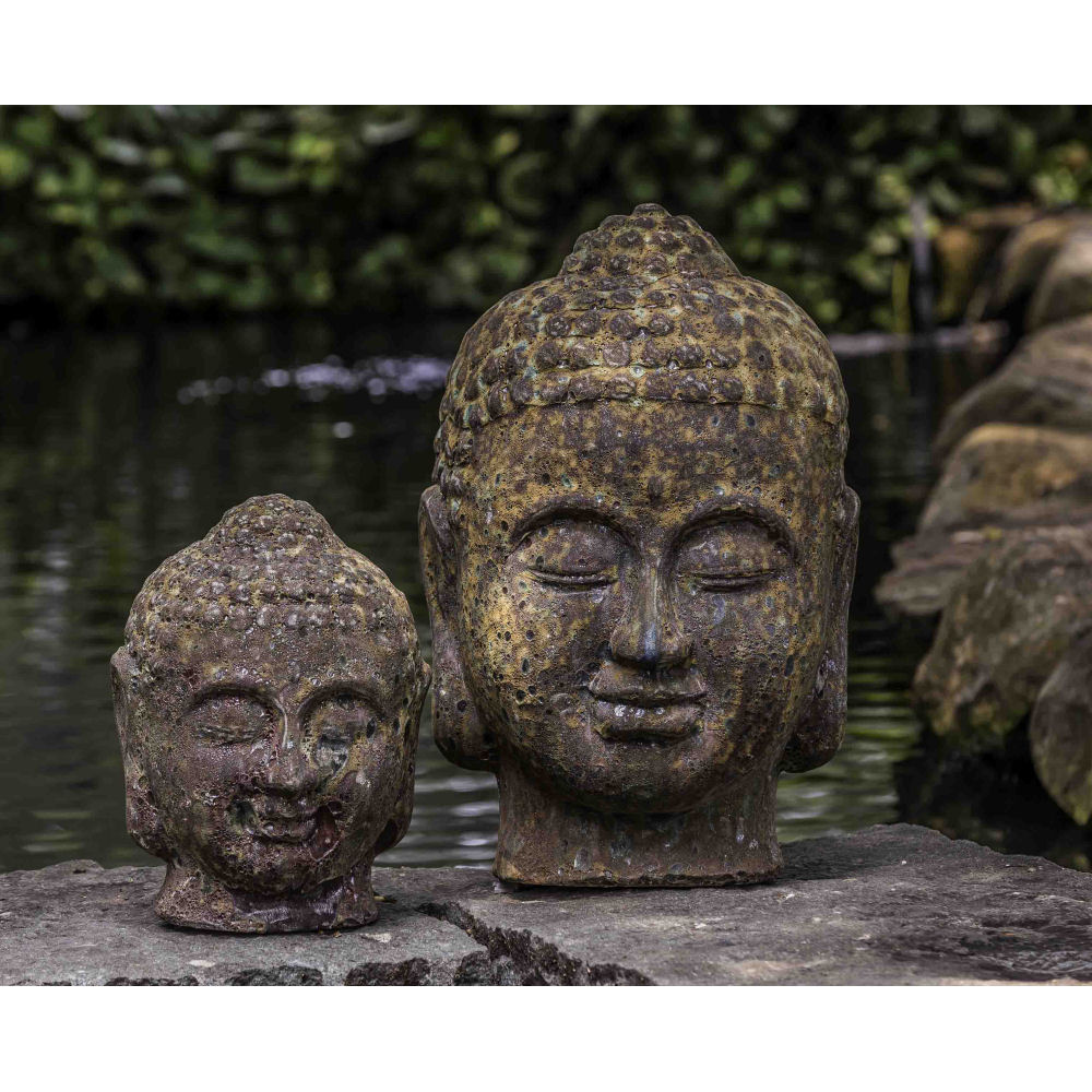 Large Buddha Head Fountain: Large Indoor Outdoor Buddha Head Statue