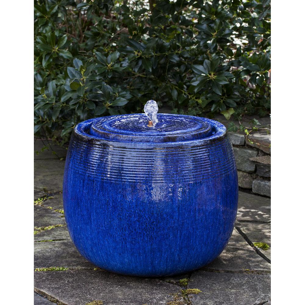 Ceramic Pot Fountains: Ceramic Outdoor Boden Fountain Riviera Blue