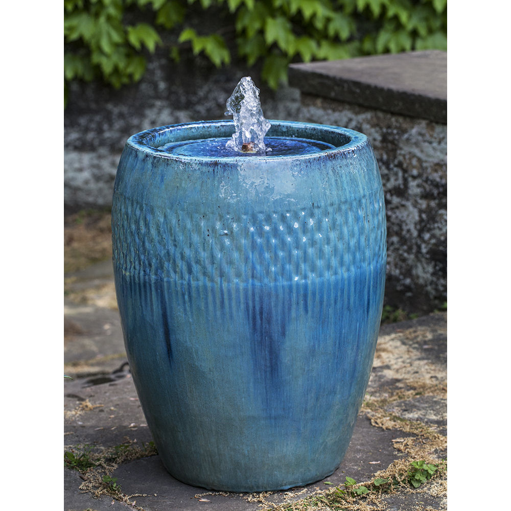 Ceramic Pot Fountains: Tall Ceramic Pottery Water Fountain Blue