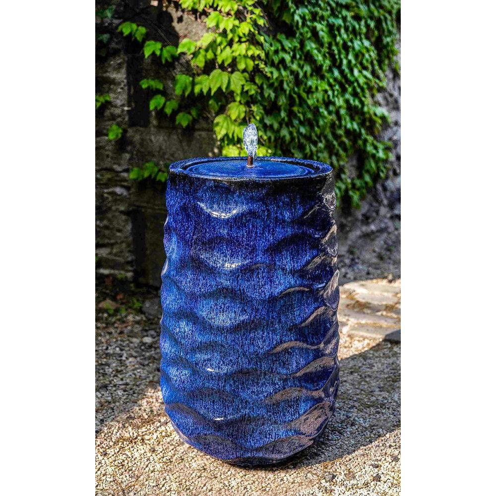 Rumba Tall Ceramic Outdoor Fountain Blue Kinsey Garden Decor