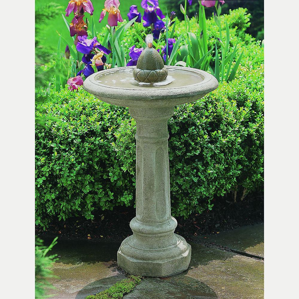 Acorn Fountain Tall Cast Stone Bird Bath Kinsey Garden Decor