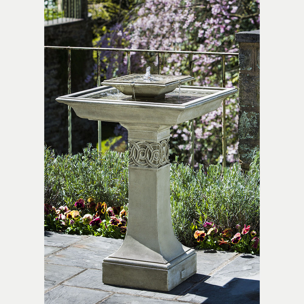 Square Portwenn Bird Bath Water Fountain Kinsey Garden Decor