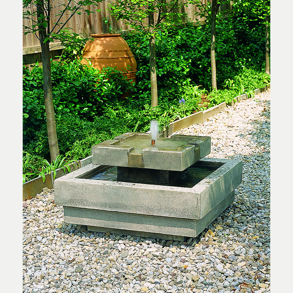 Square Modern Escala Outdoor Water Fountain Kinsey Garden Decor