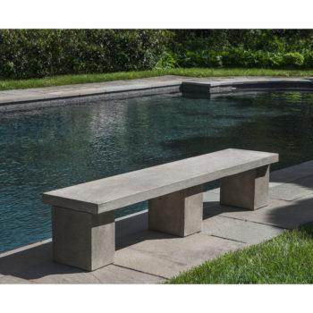 Biscayne Cast Stone Modern Outdoor Bench