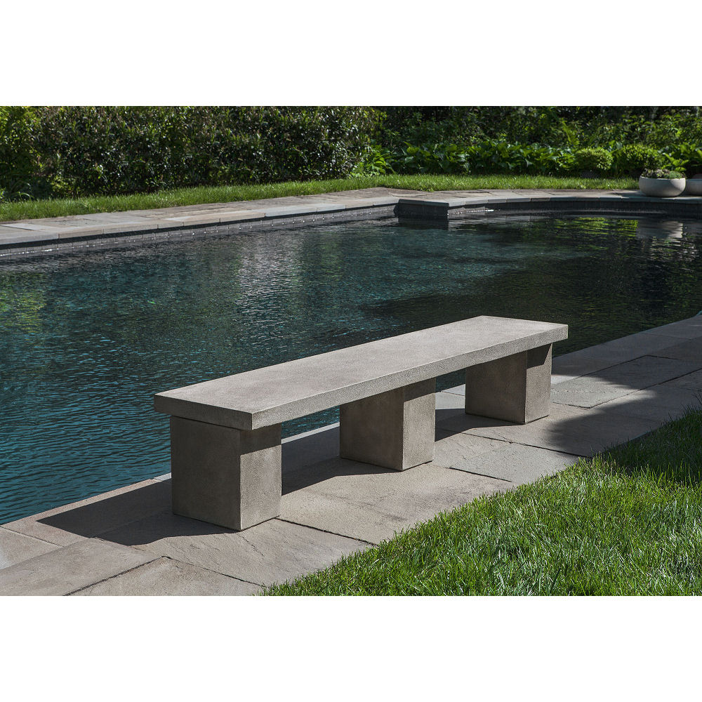 Modern Concrete Benches: Cast Stone Biscayne Outdoor Modern Bench