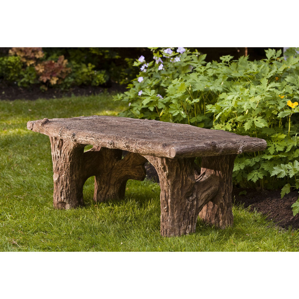 Rustic Country Faux Bois Stone Outdoor Bench Kinsey