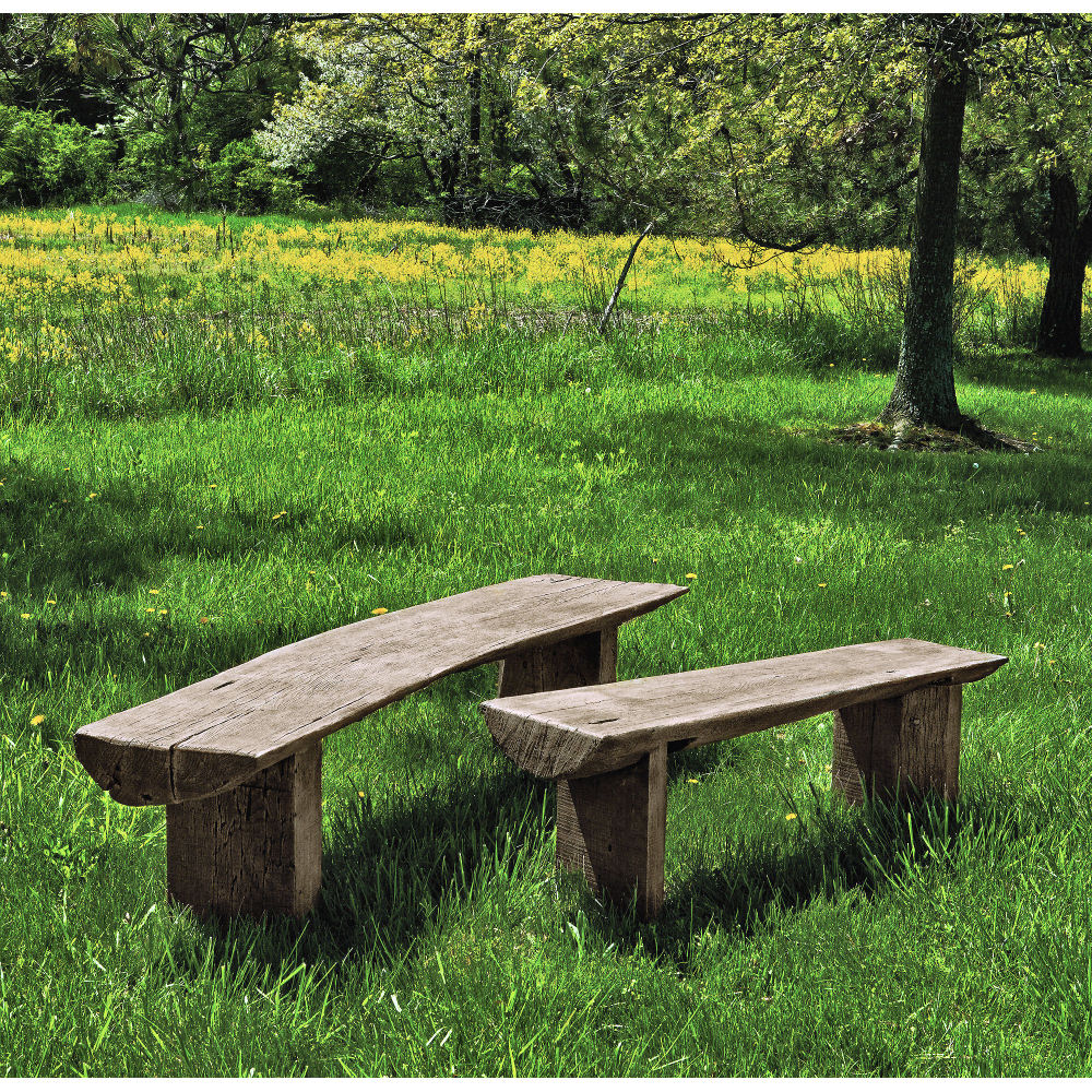 Stone And Wood Bench: Small Bois Country Rustic Outdoor Bench