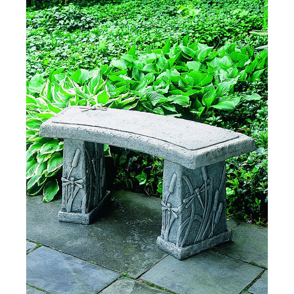 Dragonfly Curved Stone Garden Bench Seat Kinsey Garden Decor