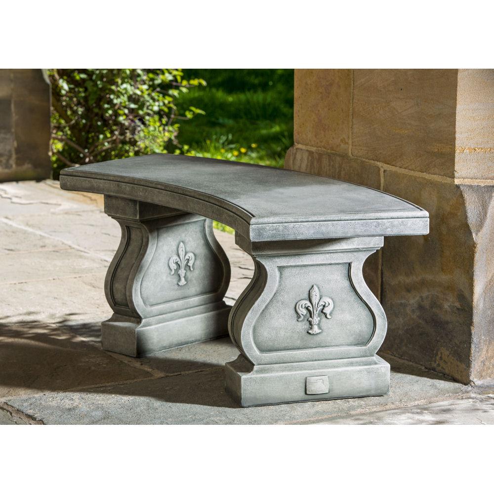 Stone Garden Seats: Fleur De Lys Curved Stone Outdoor Bench