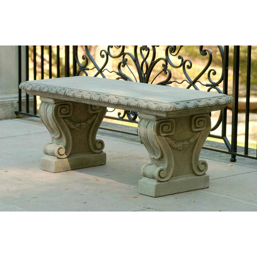 Stone Garden Seats: Longwood Main Fountain Stone Outdoor Bench
