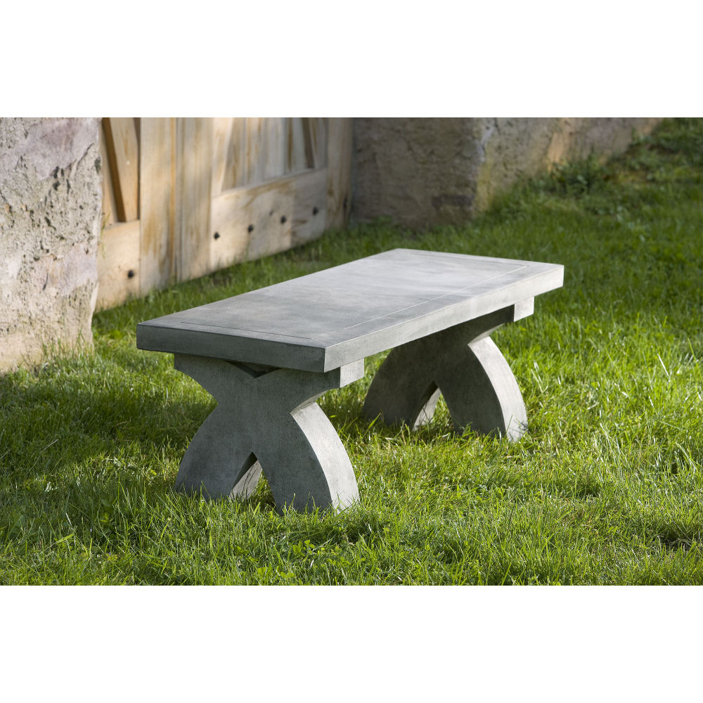 Stone And Wood Bench: Modern X Outdoor Stone Bench Patio Seating
