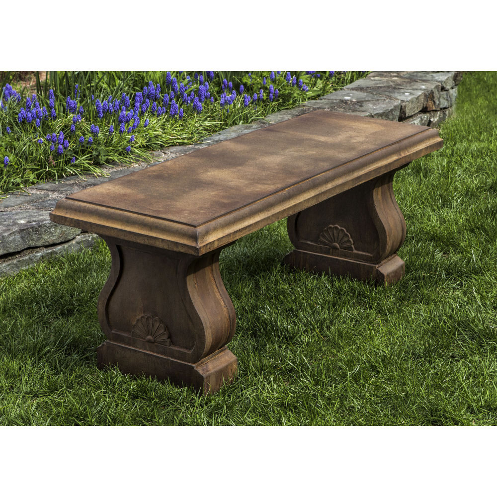Stone And Wood Bench: Westland Traditional Stone Outdoor Bench