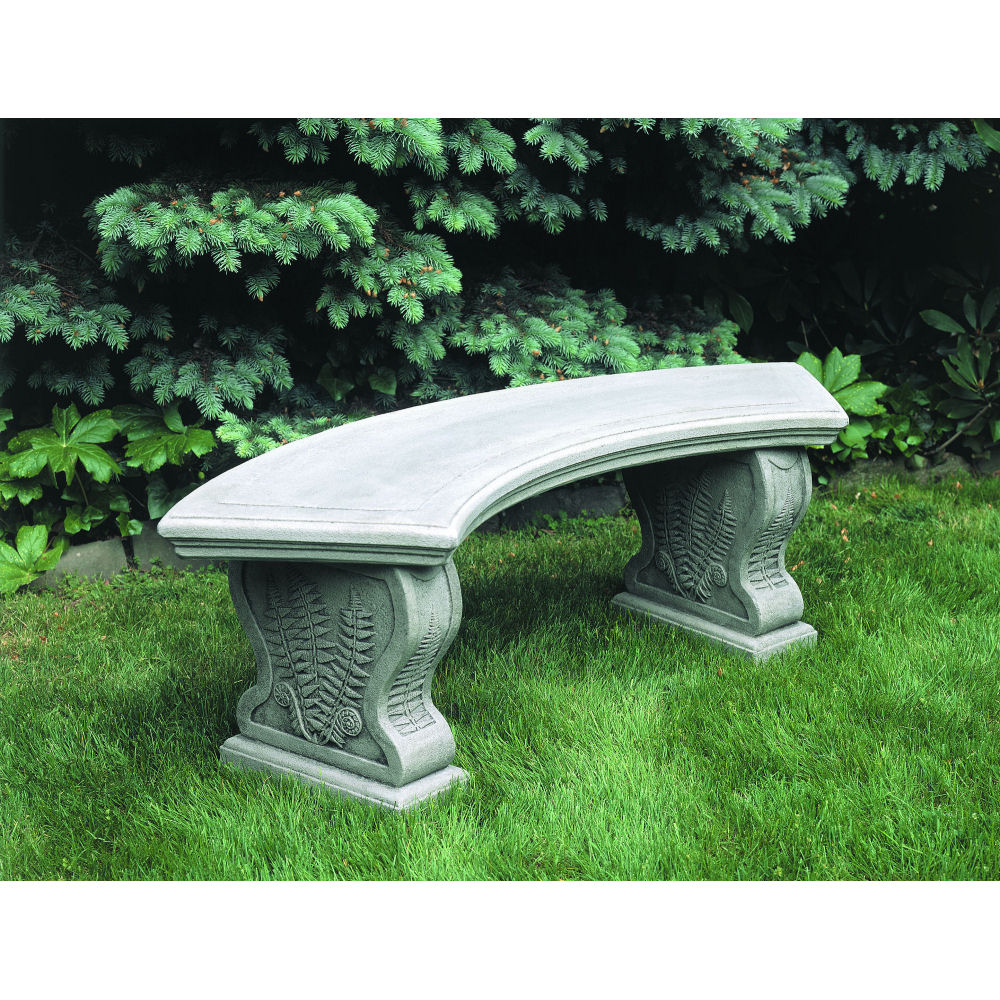 Stone Garden Seats: Curved Woodland Ferns Stone Bench Seating