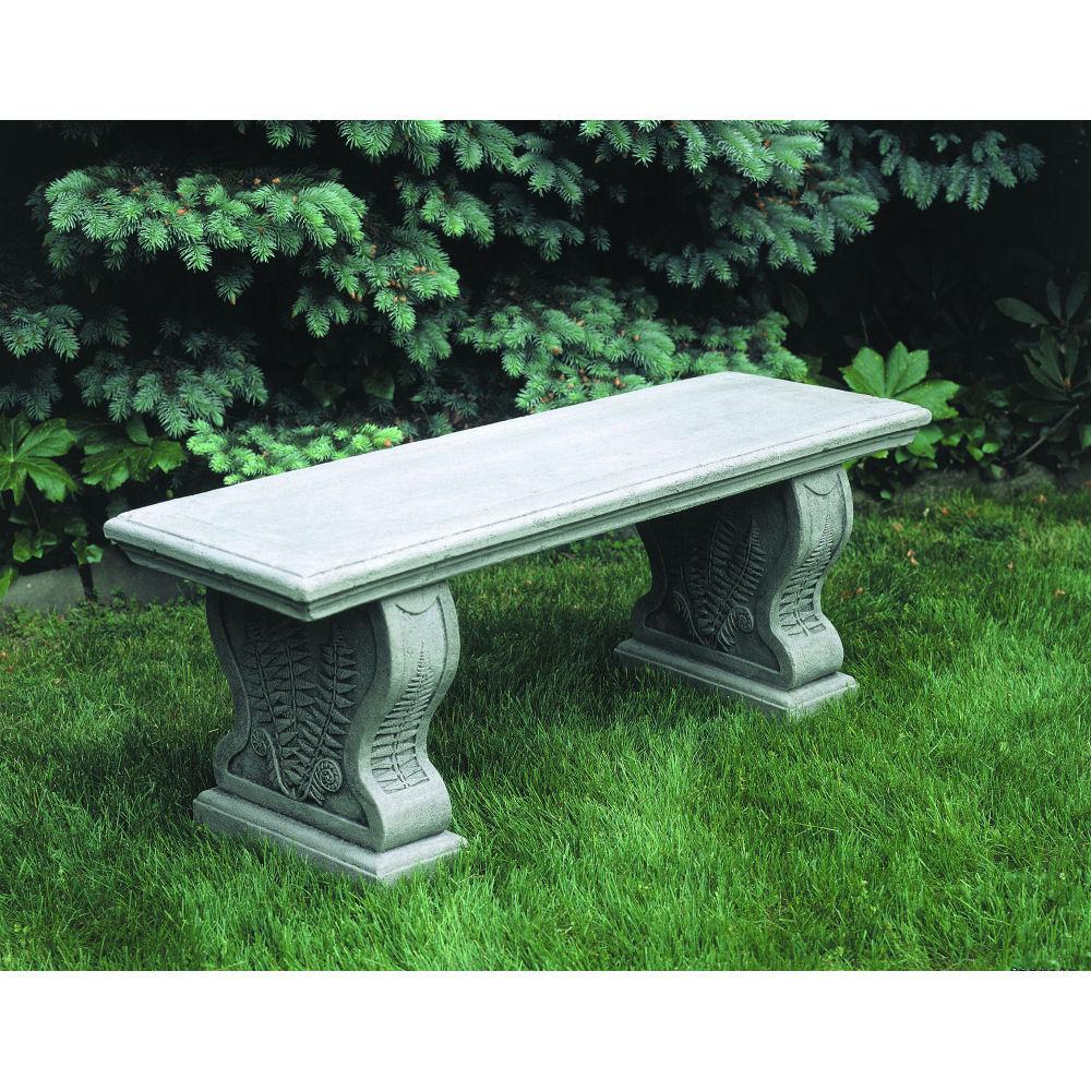 Stone Garden Seats: Woodland Ferns Stone Outdoor Patio Bench