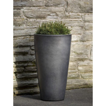 Aluan Round Planter Extra Tall Graphite Glazed Ceramic Floor Vase