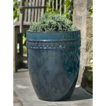 Borsa Tall Round Glazed Ceramic Planter Pots Indigo Rain Blue