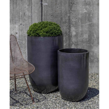 Cole Modern Tall Glazed Ceramic Large Planters Metal Grey