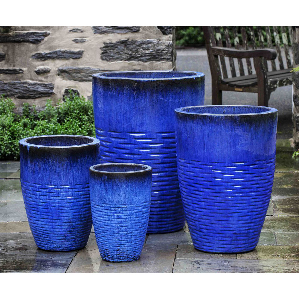225 & Hyphen Tall Glazed Ceramic Planters Blue | Kinsey Garden Decor