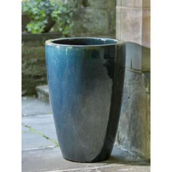 Marta Narrow Glazed Ceramic Garden Planters Indigo Rain Blue