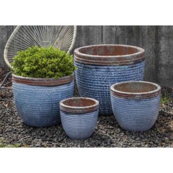 Nevis Planters Aqua Glazed Ceramic Pottery | Kinsey Garden Decor