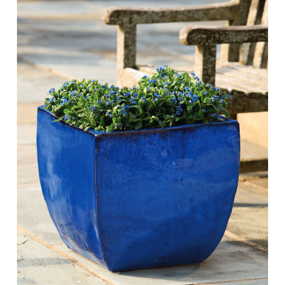 Kinsey Family Farm & Ceramic Obsit Square Planter Riviera Blue | Kinsey Garden Decor