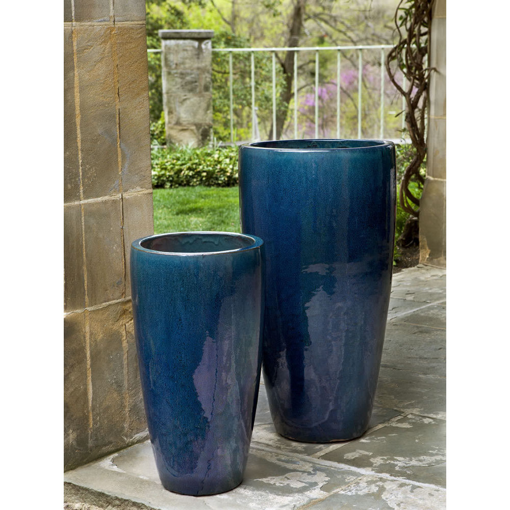 Rioja Extra Tall Ceramic Planters Blue