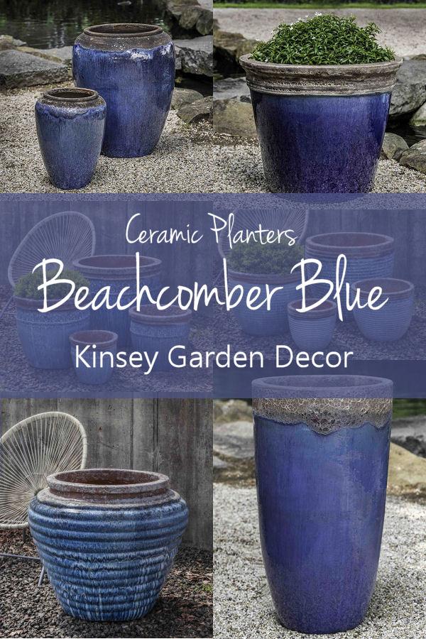 Kinsey Garden Decor Ceramic Planters Beachcomber Blue