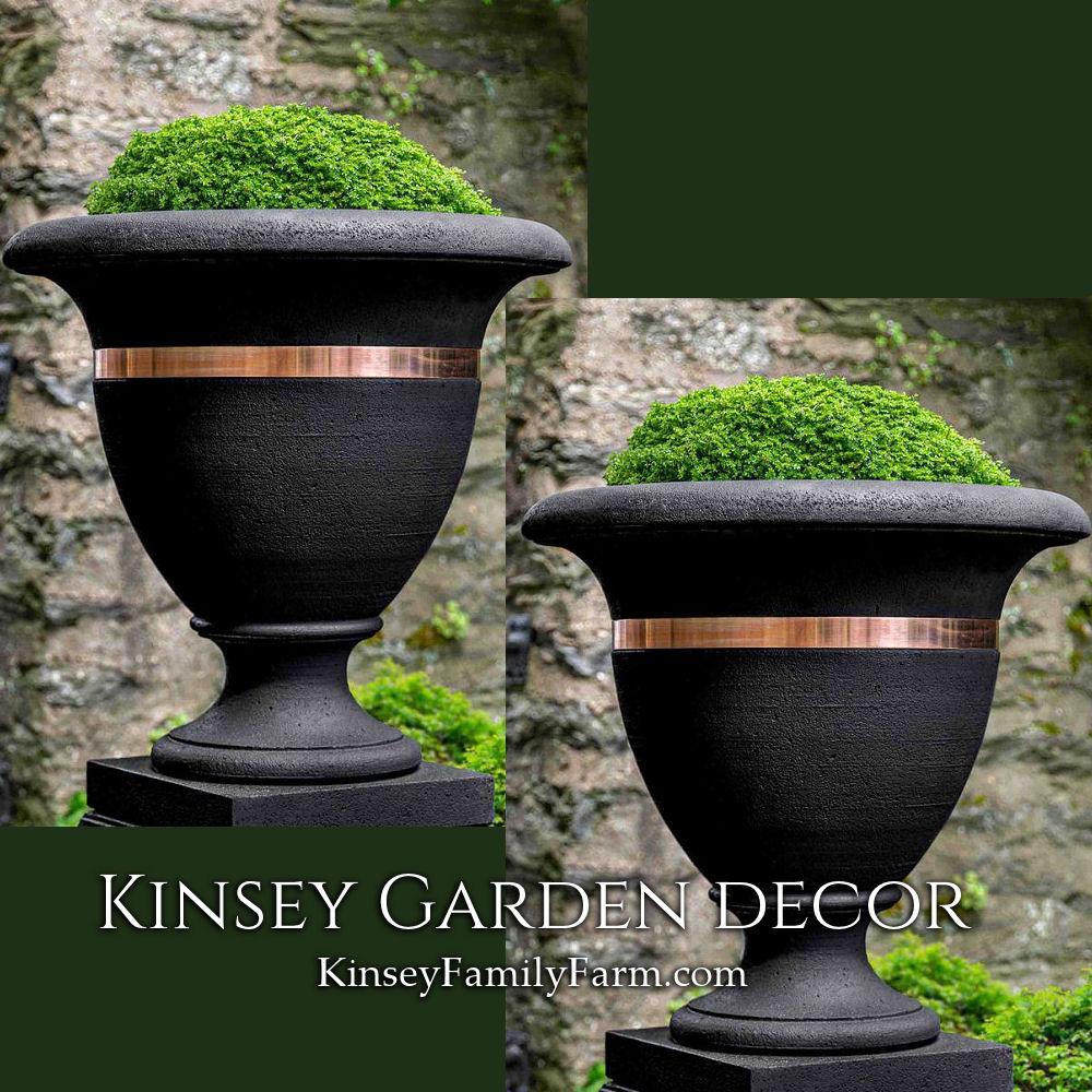 Outdoor Copper Banded Urn Planters Kinsey Garden Decor