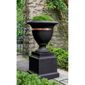 Kinsey Garden Decor Copper Banded Urn Large Pedestal