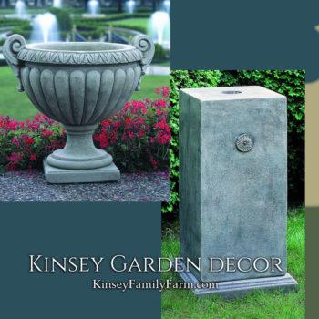 Kinsey Garden Decor Longwood Volute Handle Urn pedestal