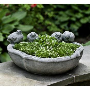 Alouette Cast Stone Small Birds Garden Planter