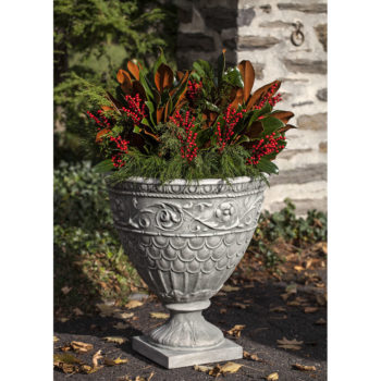Neoclassical Valadier Ornate Cast Stone Tall Urn Planter Set Of 2