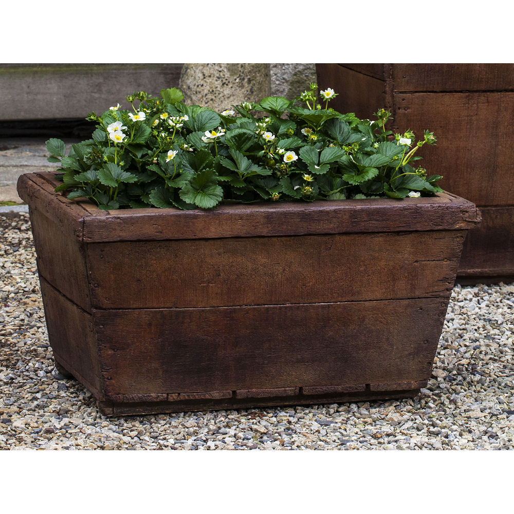 High Stone Wall Garden With Rectangular French Marble: Vendange Planter Low Rectangle Faux Wood