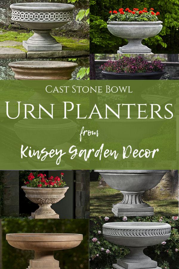 Jensen Urn Small Wide Bowl Stone Planters Kinsey Garden