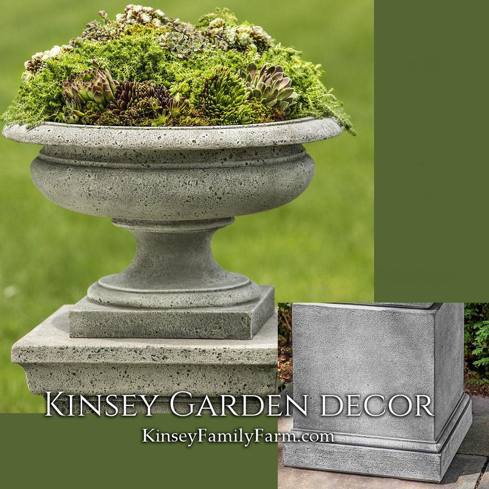 Rustic Palazzo Cast Stone Urn Planter On Short Pedestal Base Kinsey Garden Decor