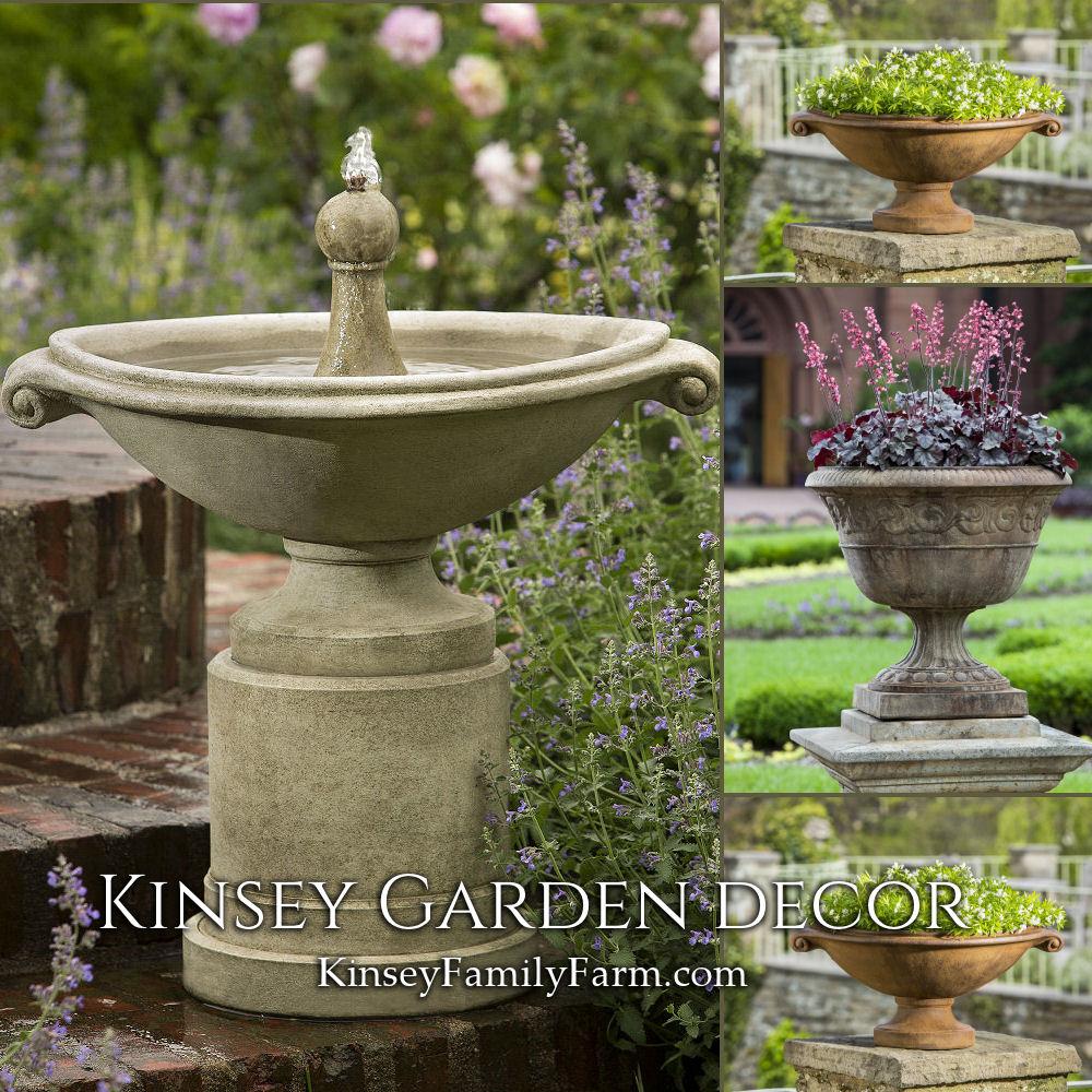 Borghese Small Fountain Urn Planters Set Kinsey Garden Decor