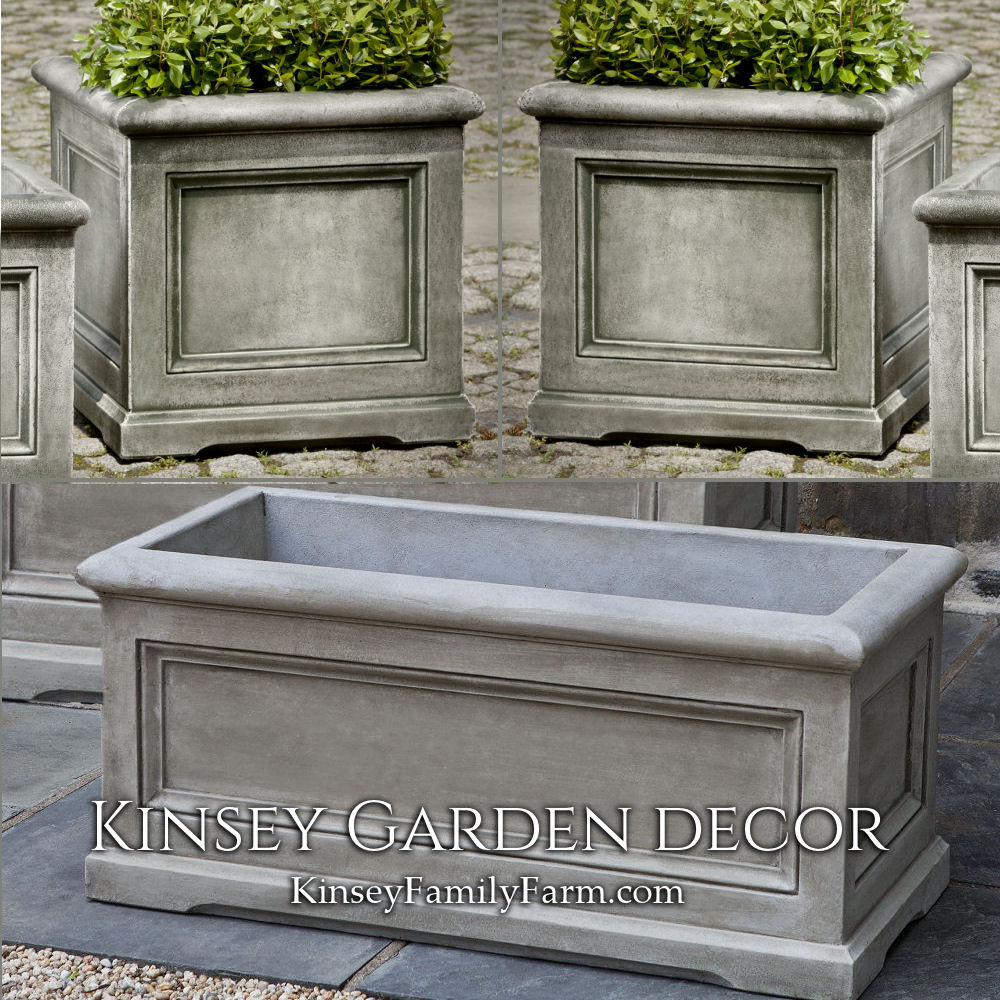 High Stone Wall Garden With Rectangular French Marble: Large Orleans Rectangle Square Planters Set