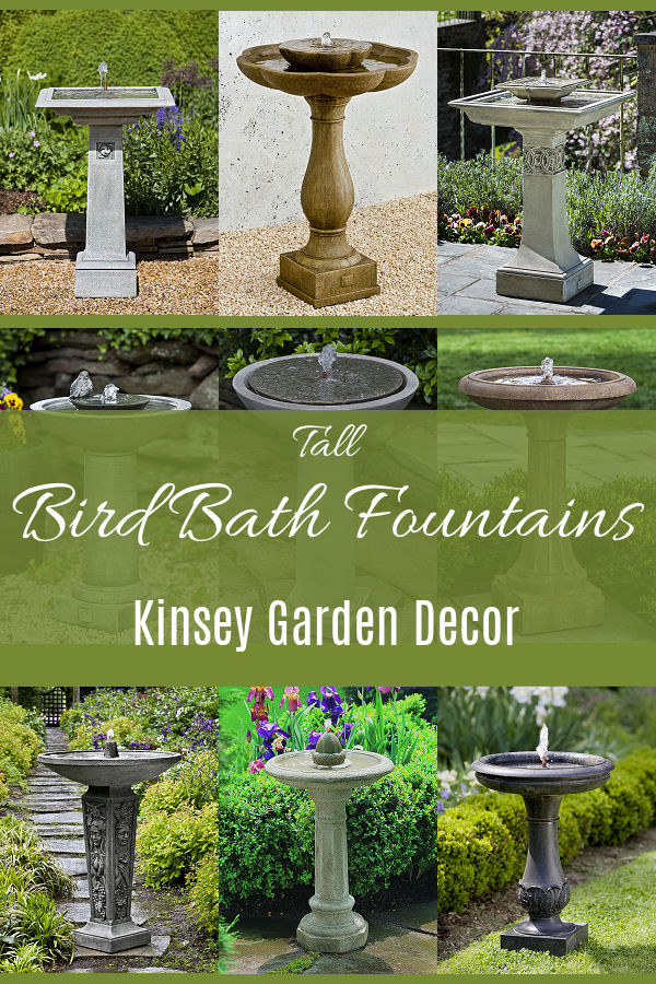 Kinsey Garden Decor tall bird bath water fountains