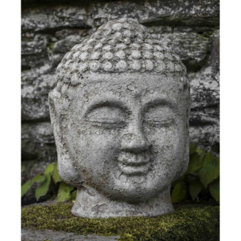 Angkor Gray Buddha Head Ceramic Indoor Outdoor Statue